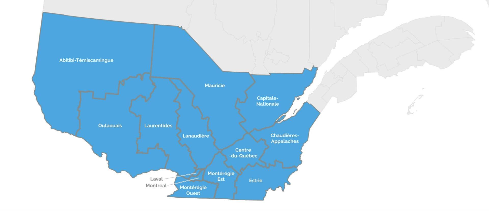 Régions du Québec pour franchises Ecocuisine Design